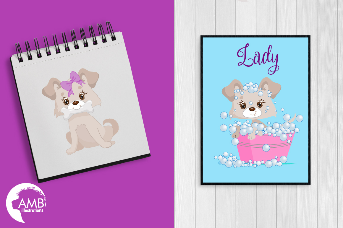 Girly dog clipart, graphics, illustrations AMB-1924 example image 2
