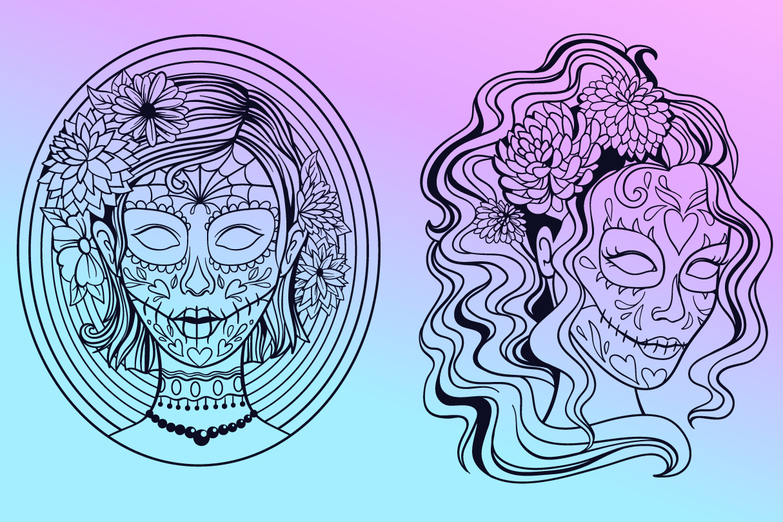 Sugar Skull SVG Collection | Calavera Ladies SVG example image 4