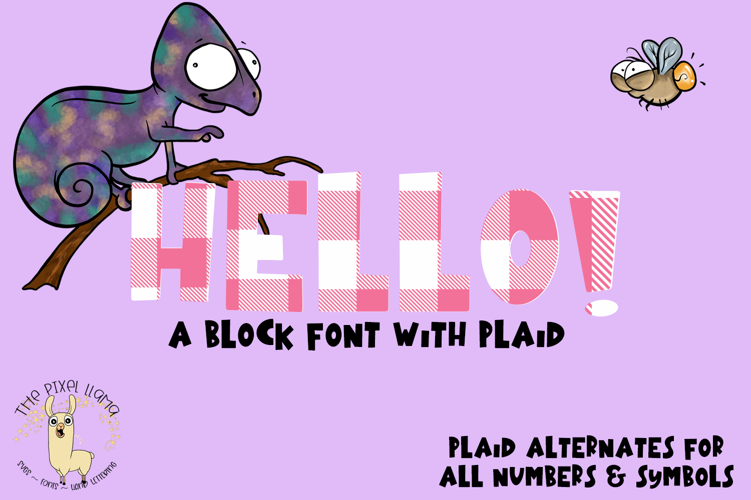 Plaid Chameleon A Block Font with Plaid example image 5