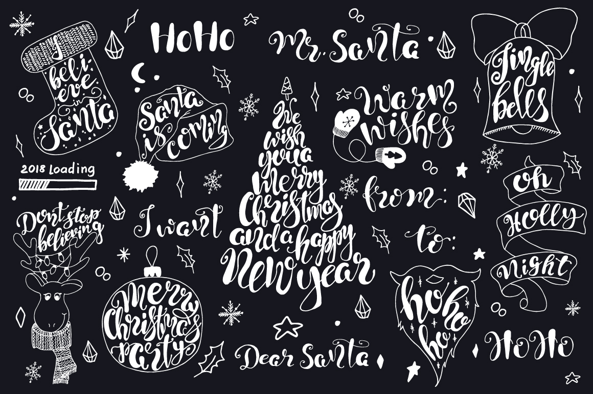 Merry Christmas quotes Lettering set example image 4
