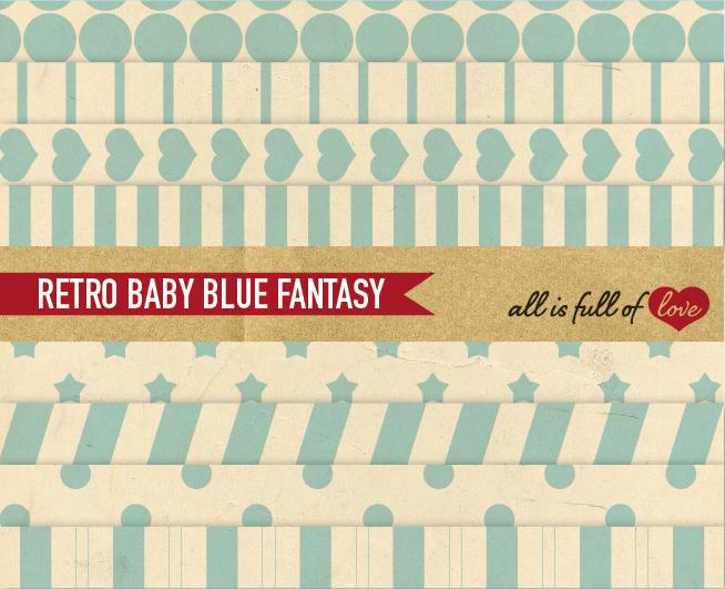 Baby Blue Digital Paper Vintage Geometric Background Patterns  example image 1