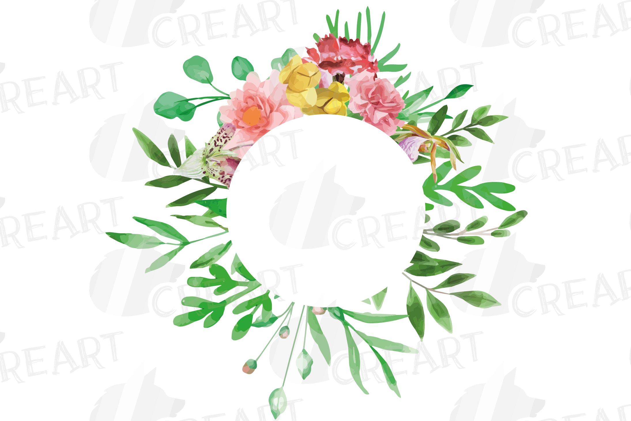 Watercolor floral floral frames and borders clip art pack example image 11