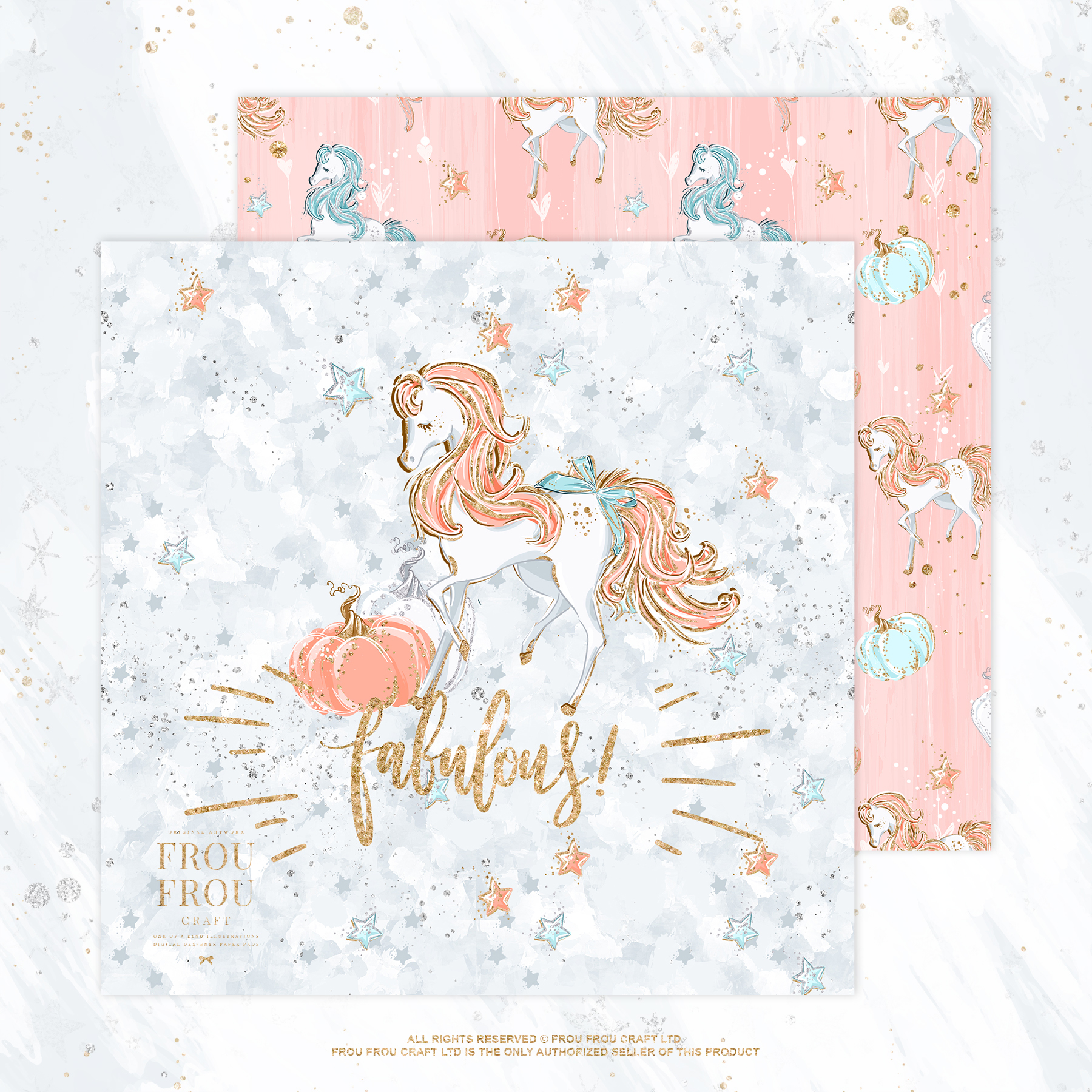 Princess Fairy Tale Gold Glitter Paper Pack example image 6