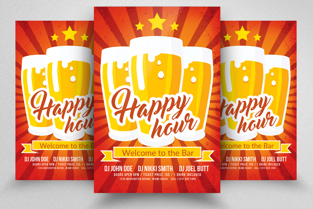 10 Happy Hour Flyer Template Bundle example image 5