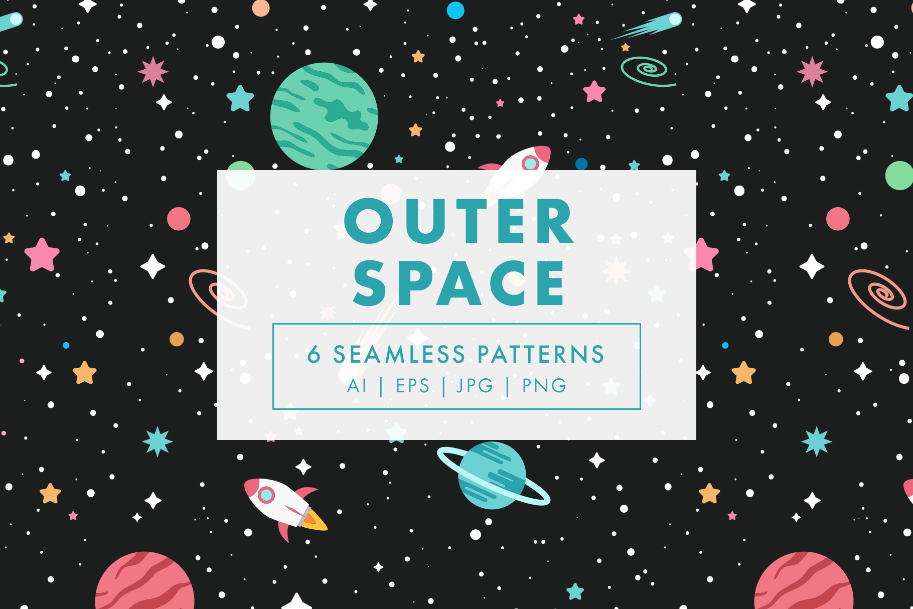 Outer Space Seamless Patterns example image 1