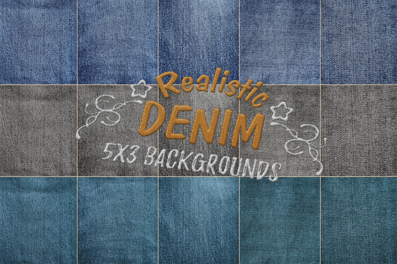 15 Denim Jean Fabric Textures JPG example image 9