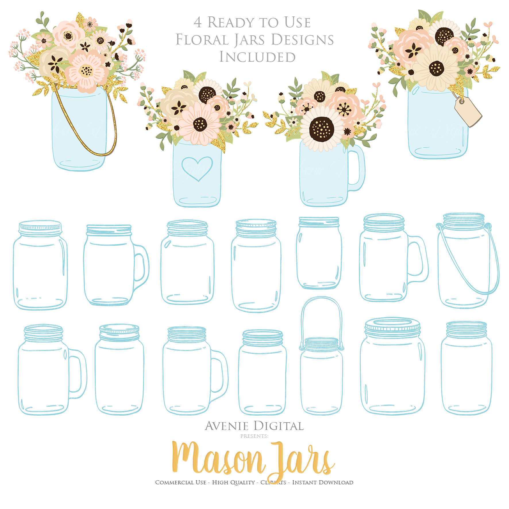 Ivory and Gold Mason Jar Floral Wedding Clipart example image 3