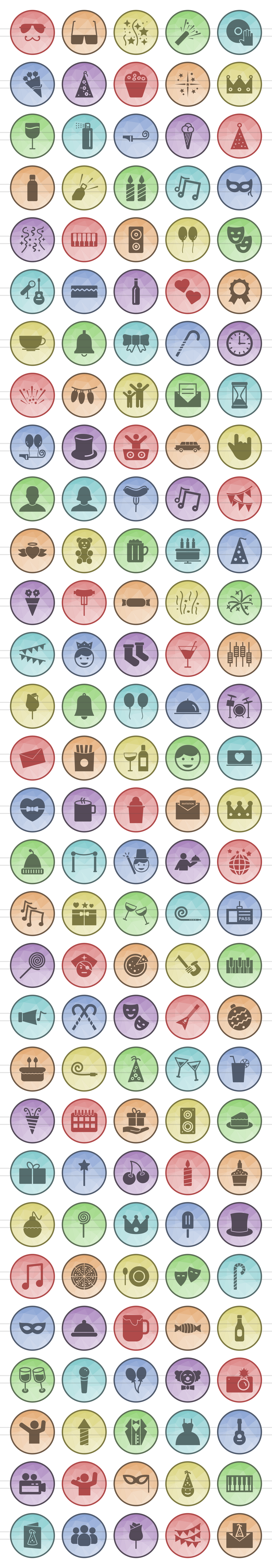 150 Birthday Filled Filled Low Poly Icons example image 2