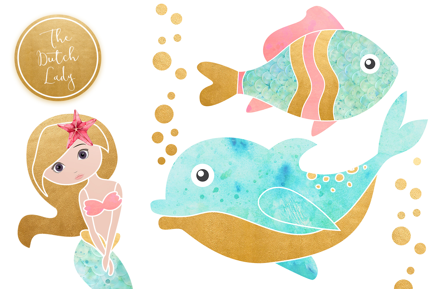 Enchanted Mermaid Ocean Clipart Set example image 5