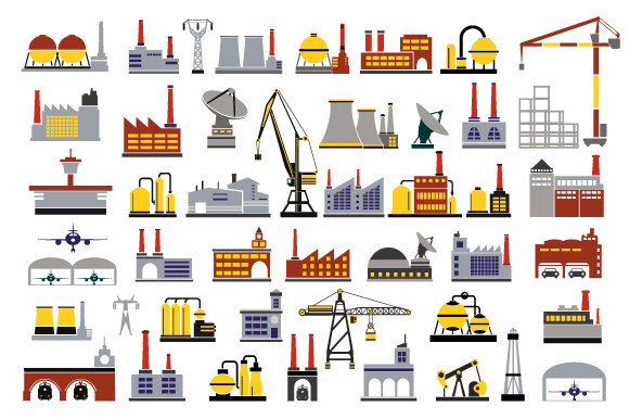 Industrial icon vector set example image 1