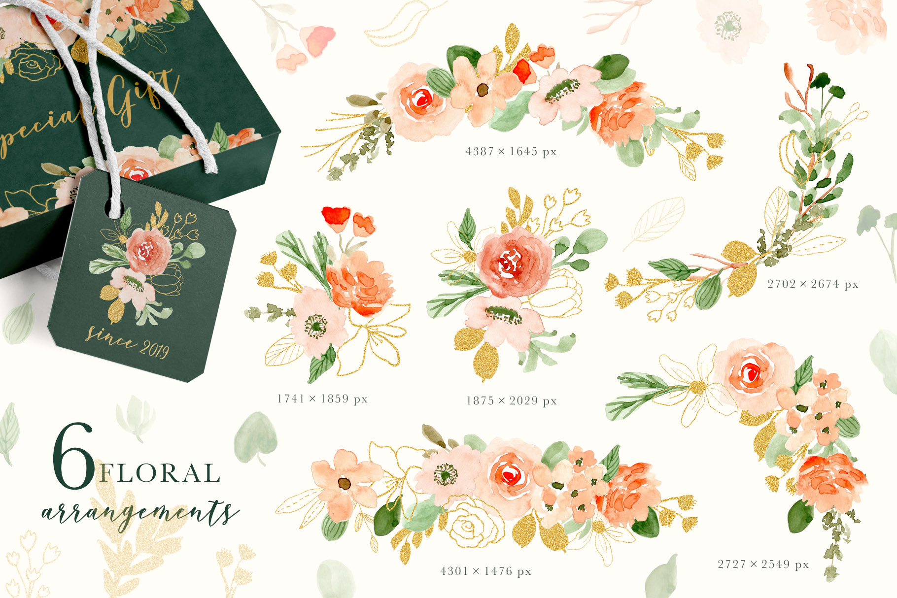 Classy Florals - Watercolor Clipart example image 2