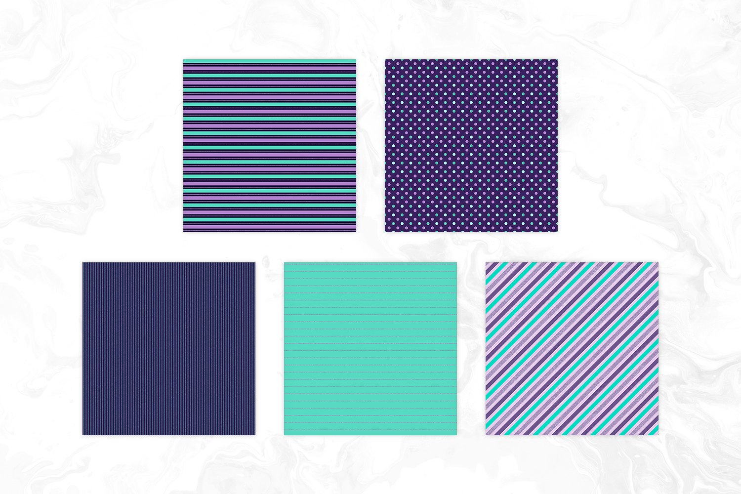 Mint, Purple & Glitter Tileable Geomteric Backgrounds example image 2