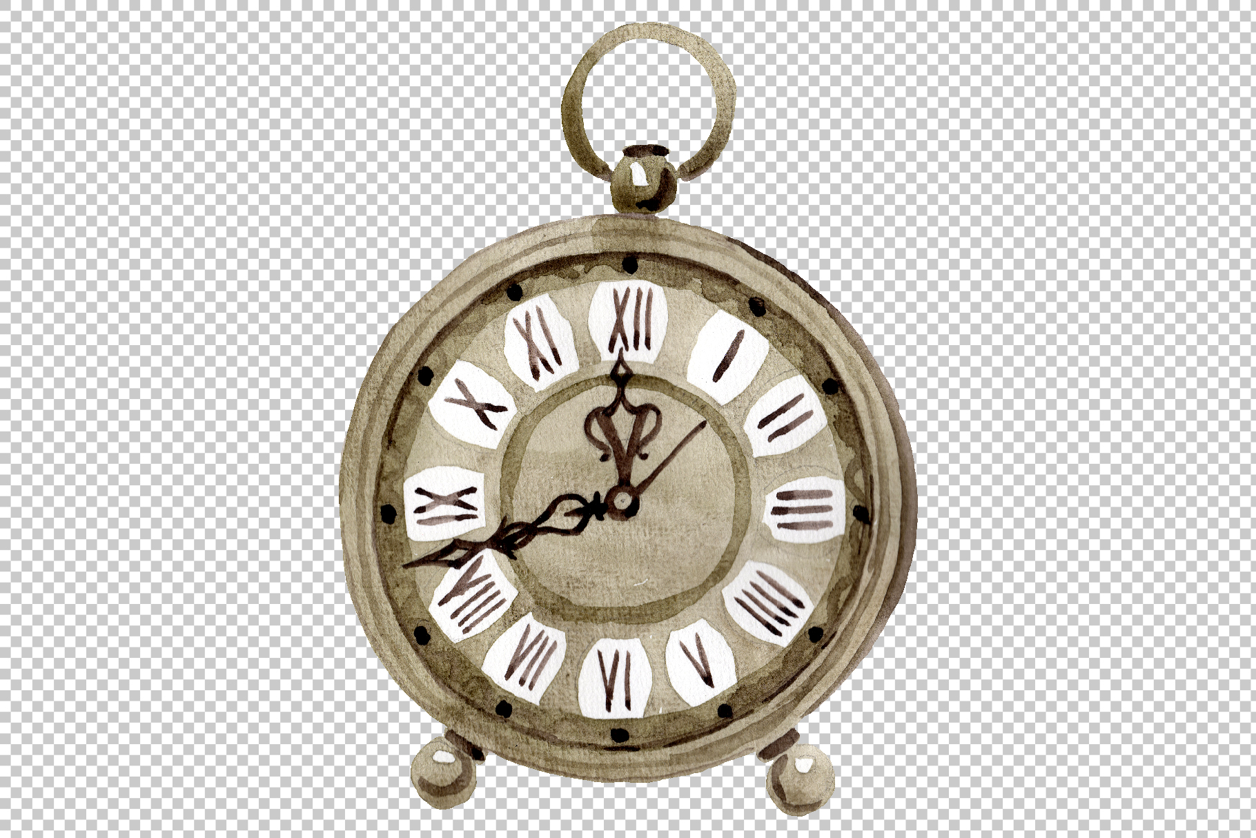 Clock old antiques watercolor png example image 3