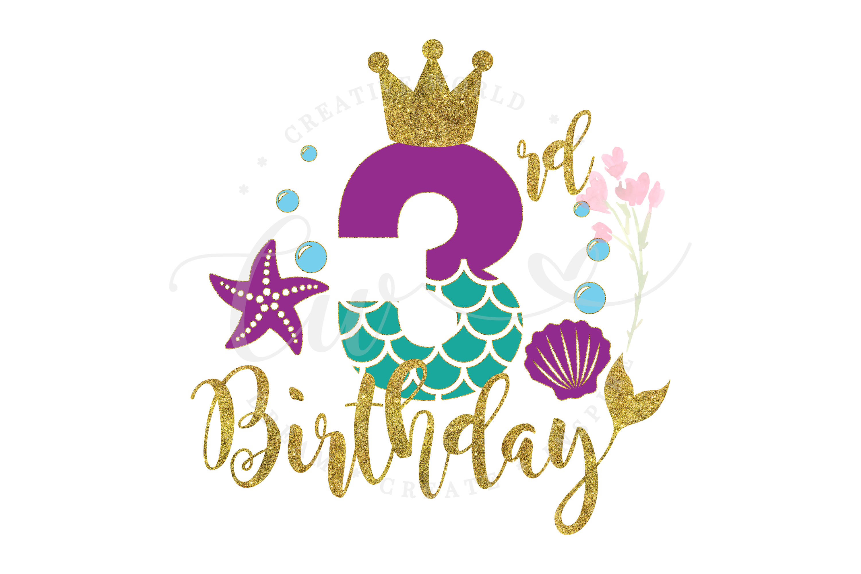 My 3rd Birthday Mermaid SVG | Mermaid SVG | Mermaid Birthday example image 1