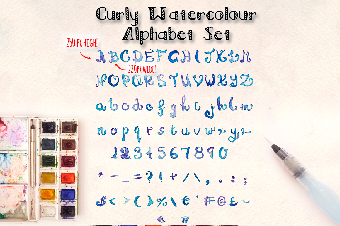 2 Watercolor Alphabet Hand Lettered Brush Sets example image 3