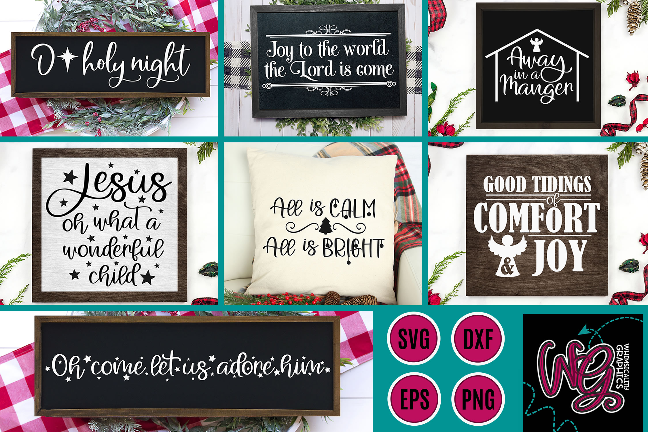 Christmas Hymns Bundle SVG, DXF, PNG, EPS example image 1