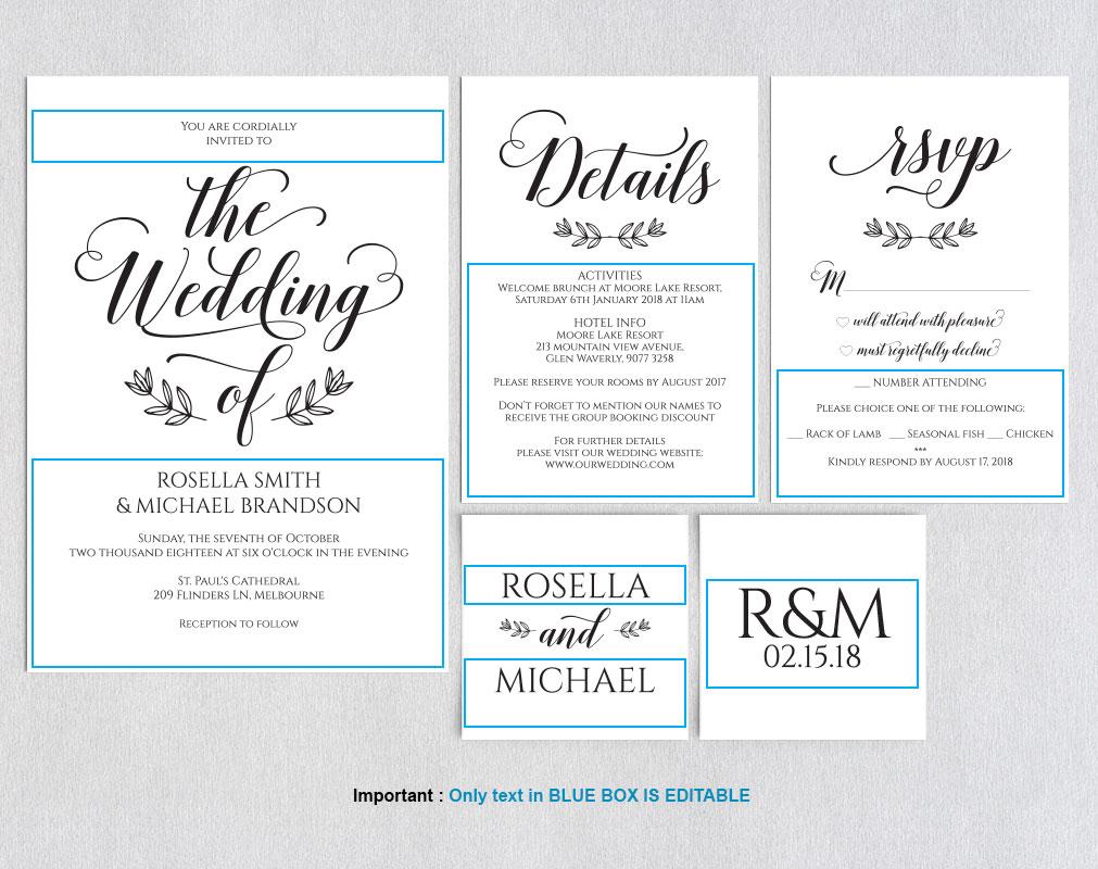 Wedding invitation set portrait, TOS_5 example image 4