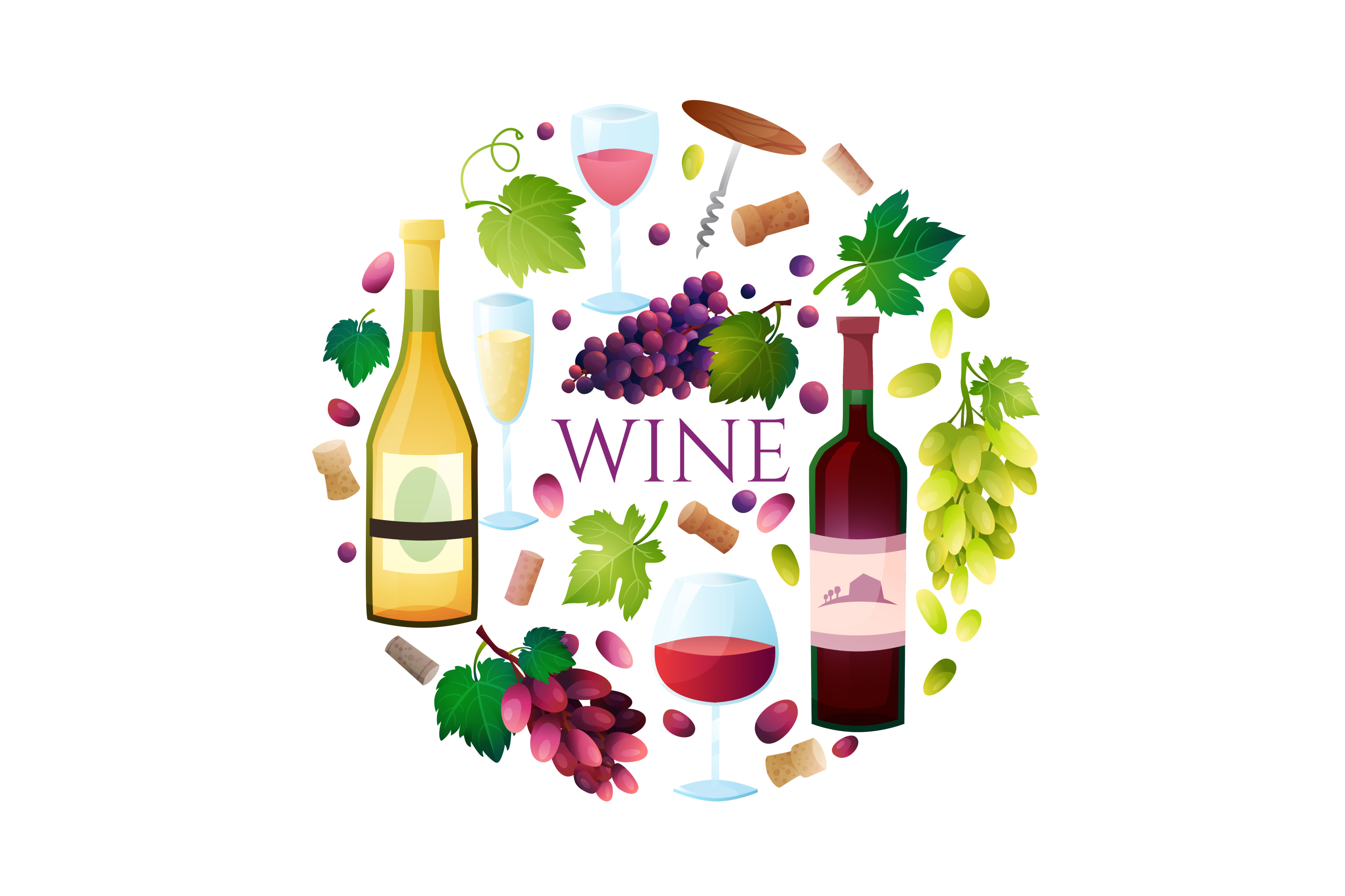 Wine vector set 15 items + 3 compositions example image 2