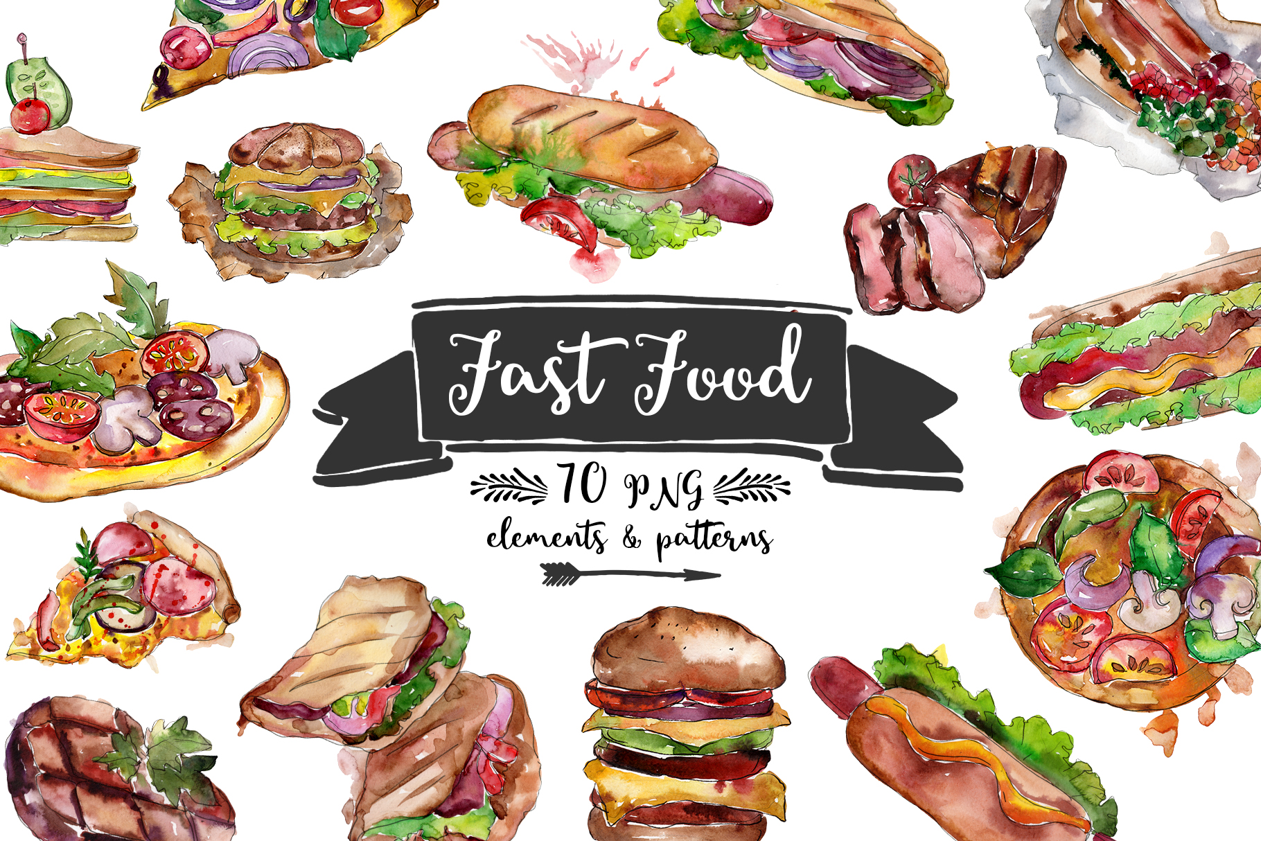 Fast food hot dog watercolor png example image 1