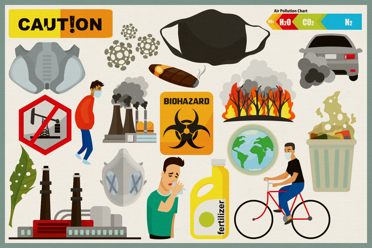 Air Pollution Vector Clipart and Seamless Pattern example image 3