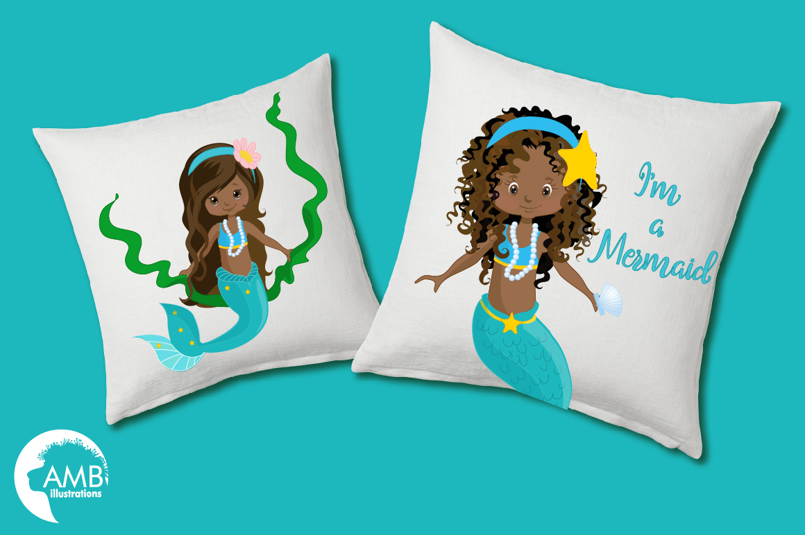 Mermaid Princess clipart, African AMerican Mermaids clipart, graphics, illustrations AMB-1363 example image 5