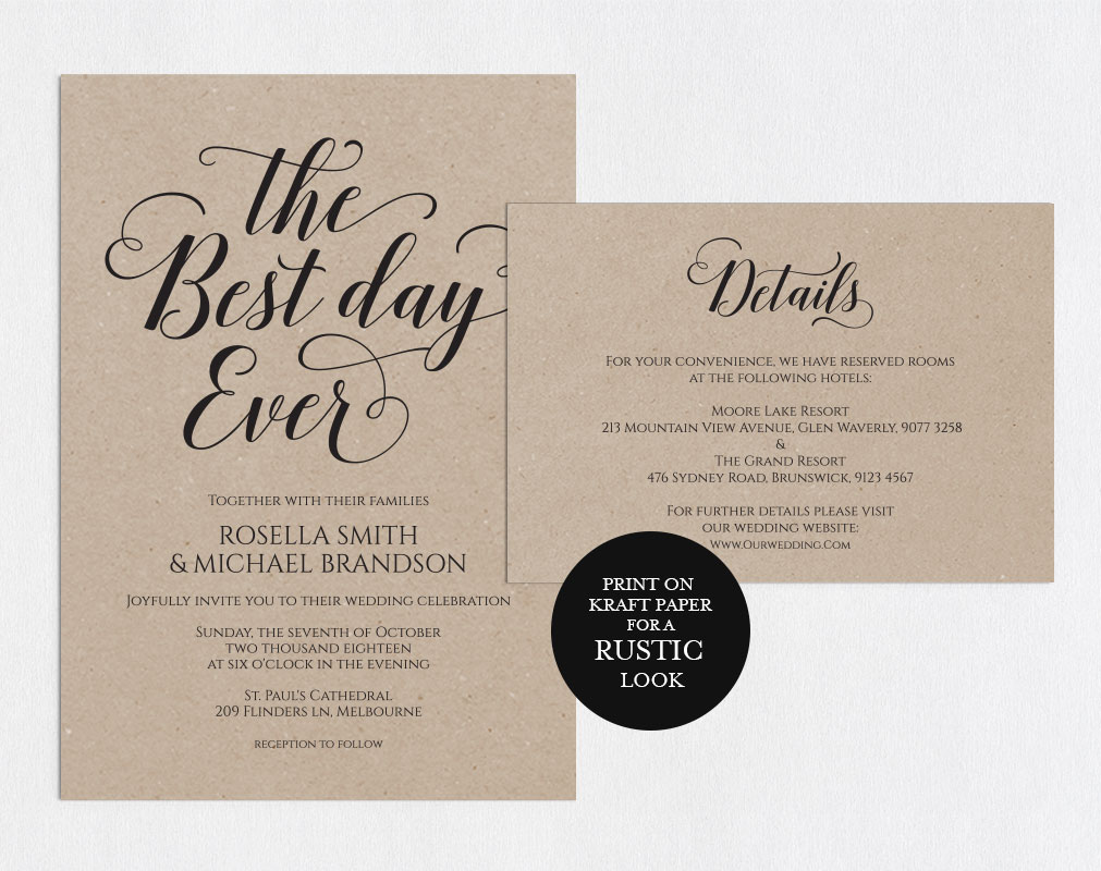 Wedding invitation set landscape, TOS_6 example image 2