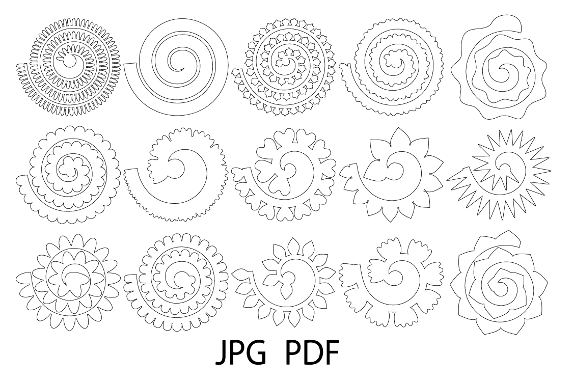 Rolled Paper Flower Templates SVG, 3D Rose SVG, Origami Rose example image 3