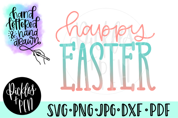 Happy Easter SVG - Handlettered SVG example image 1