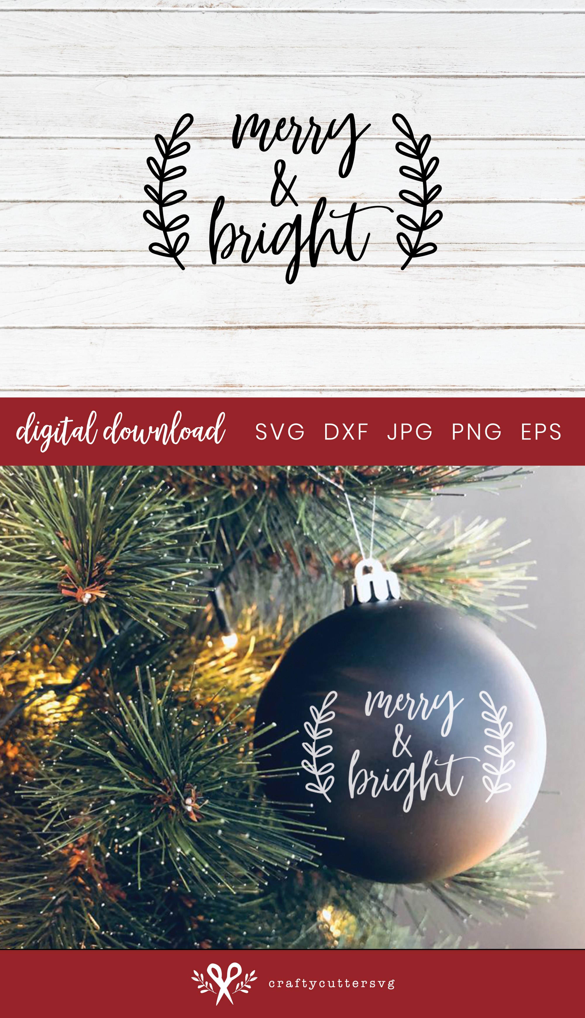 Christmas Bauble Merry & Bright Cut File Bell Clipart example image 3