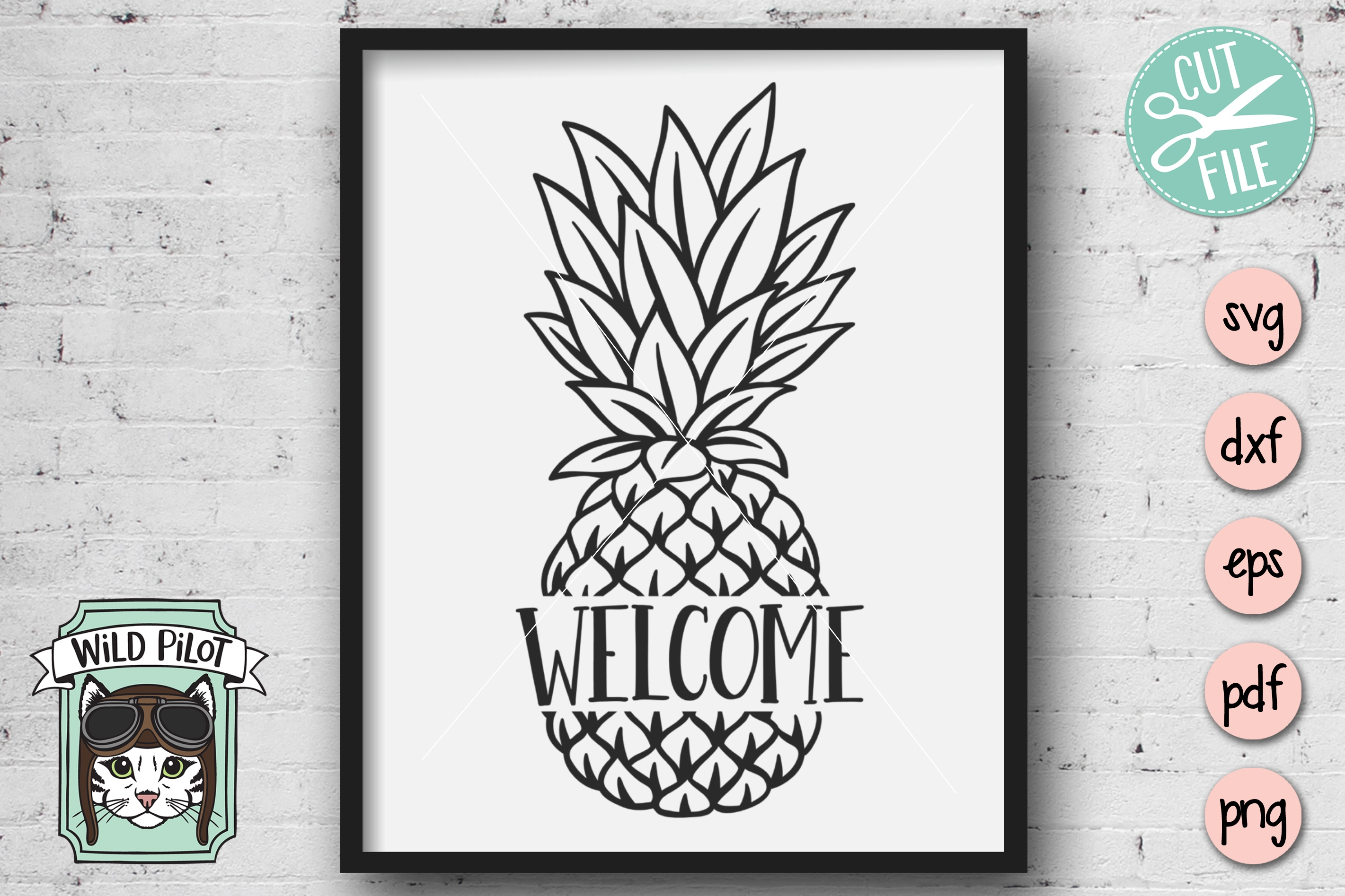 Pineapple SVG file, Pineapple Welcome Sign, Pineapple Cut example image 2
