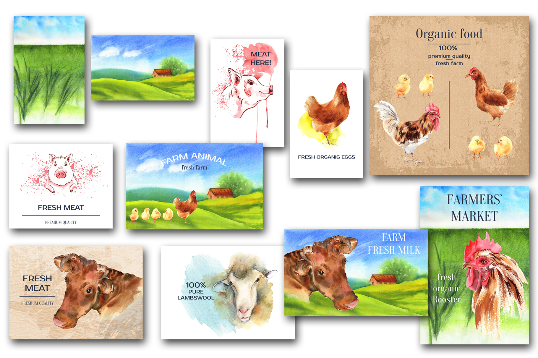 Farm animals watercolor collection example image 14