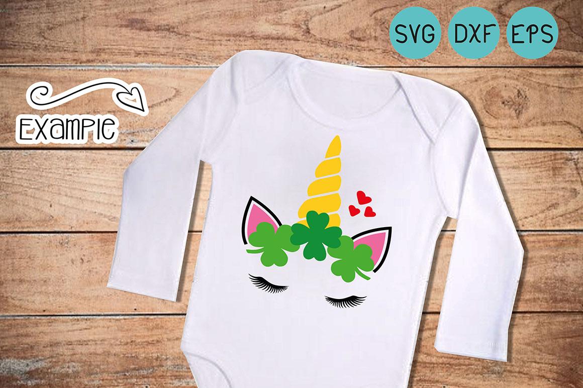 Unicorn svg, st. patricks day, clover svg, unicorn face, Shamrocks svg, little girl, DXF eps, cut file  example image 1