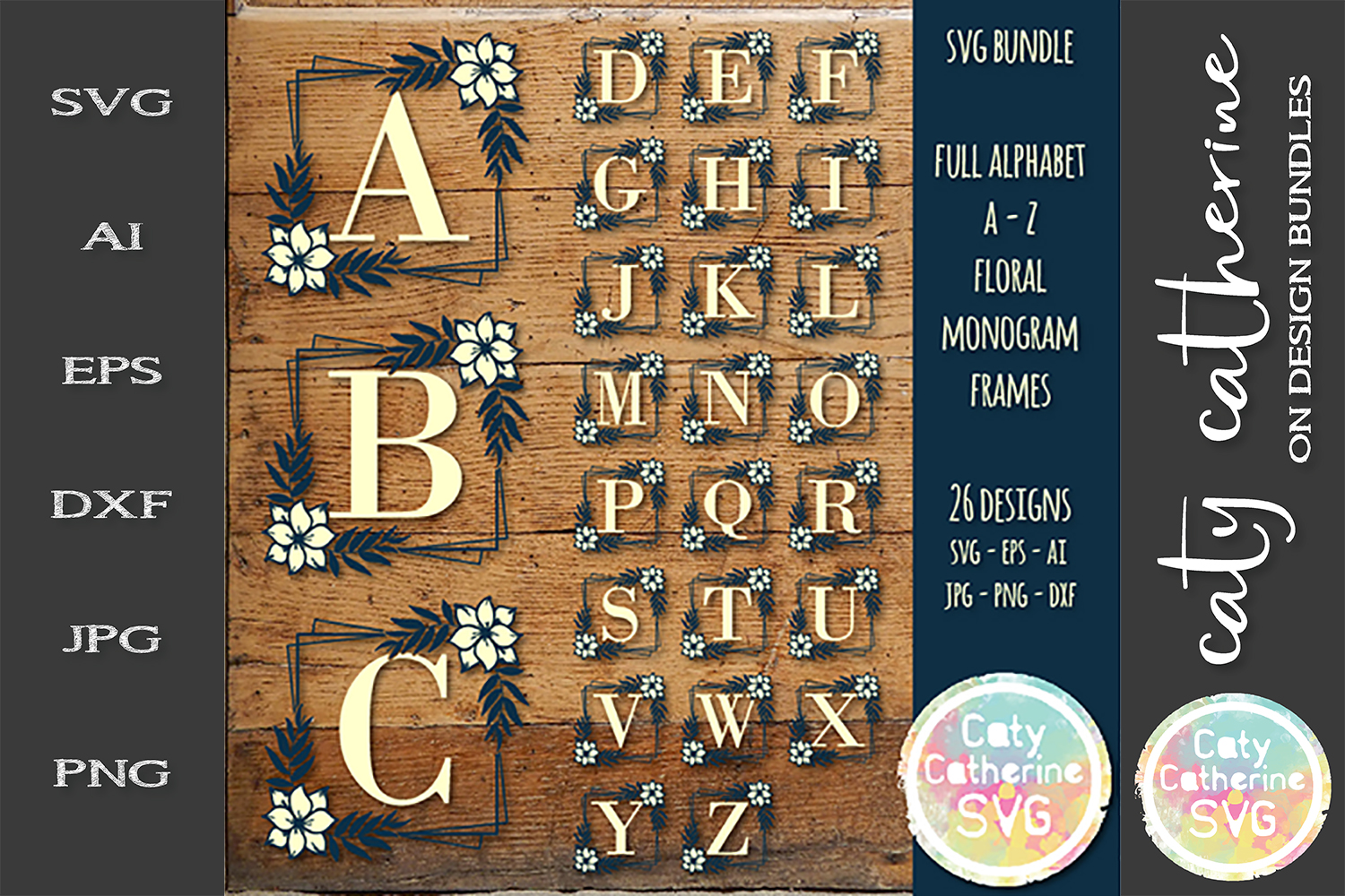 Full Alphabet A-Z With Floral Frame SVG Bundle Cut Files example image 1