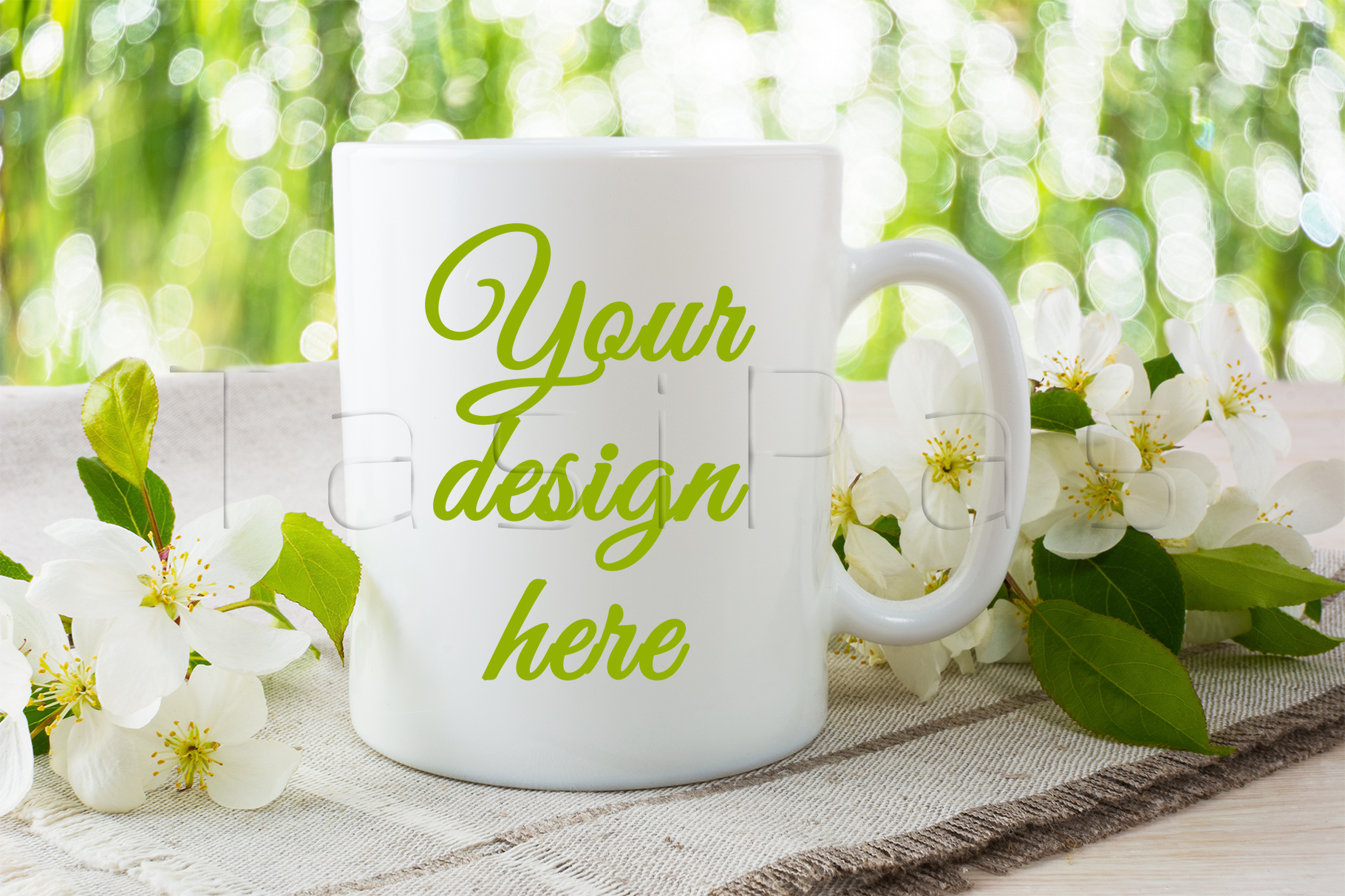 Mug mockup with apple blossom. example image 1
