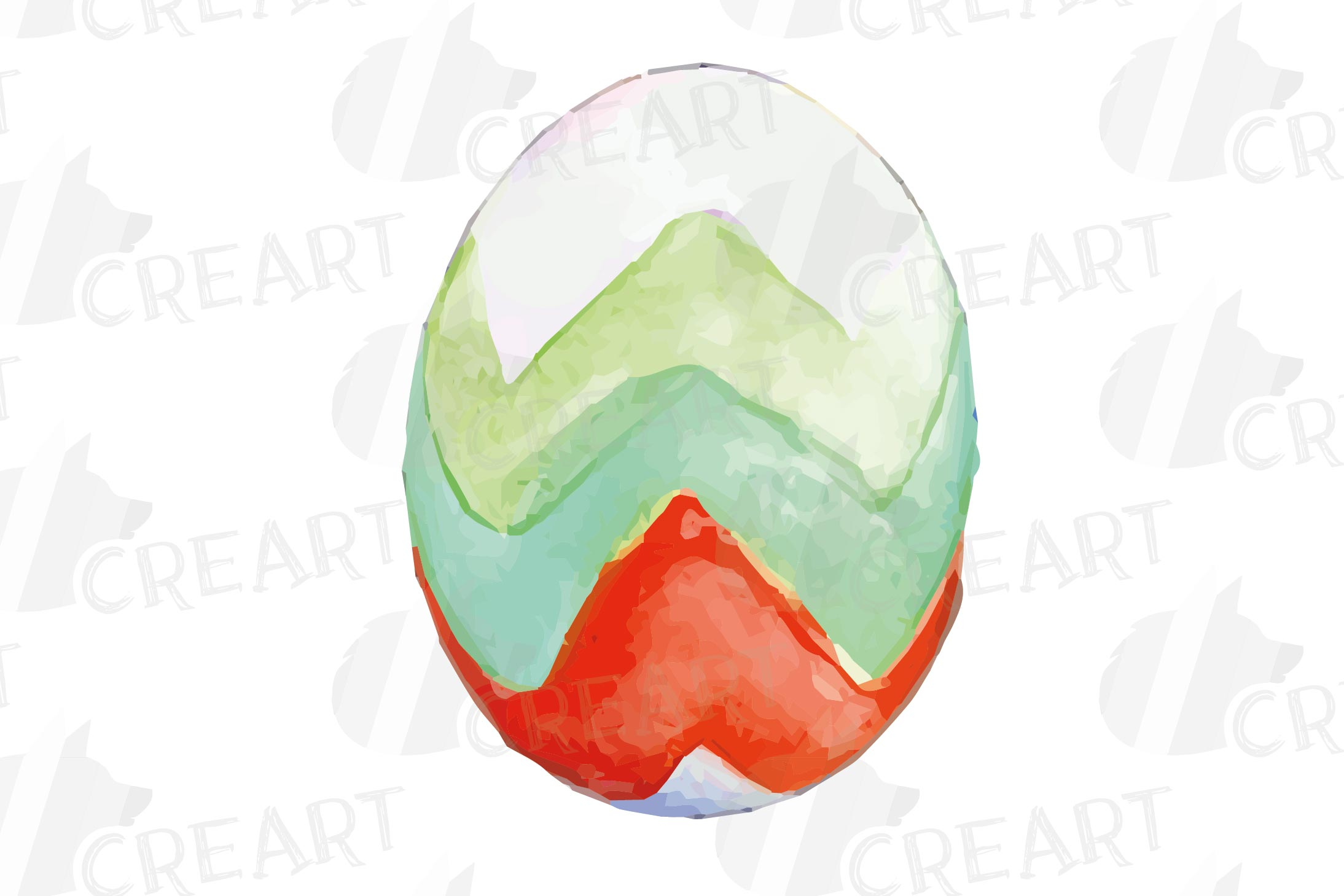 Watercolor Easter eggs colorful clip art pack example image 7