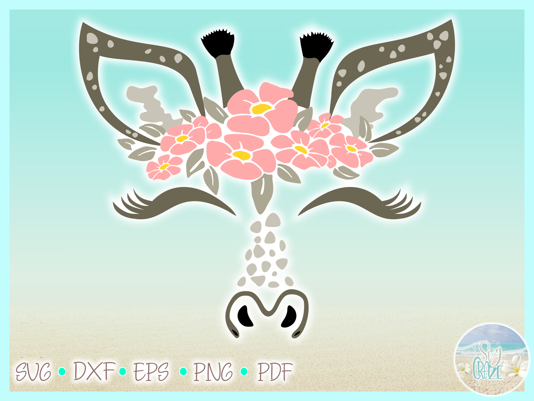 Giraffe Face With Flowers SVG DXF EPS PNG PDF files example image 3