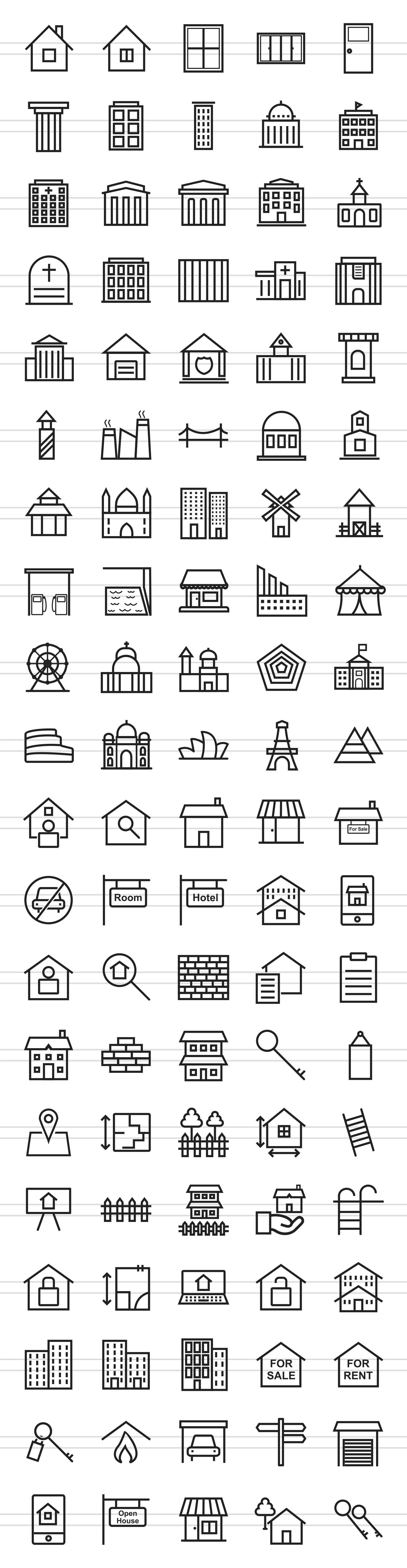 100 Building & Landmarks Line Icons example image 2