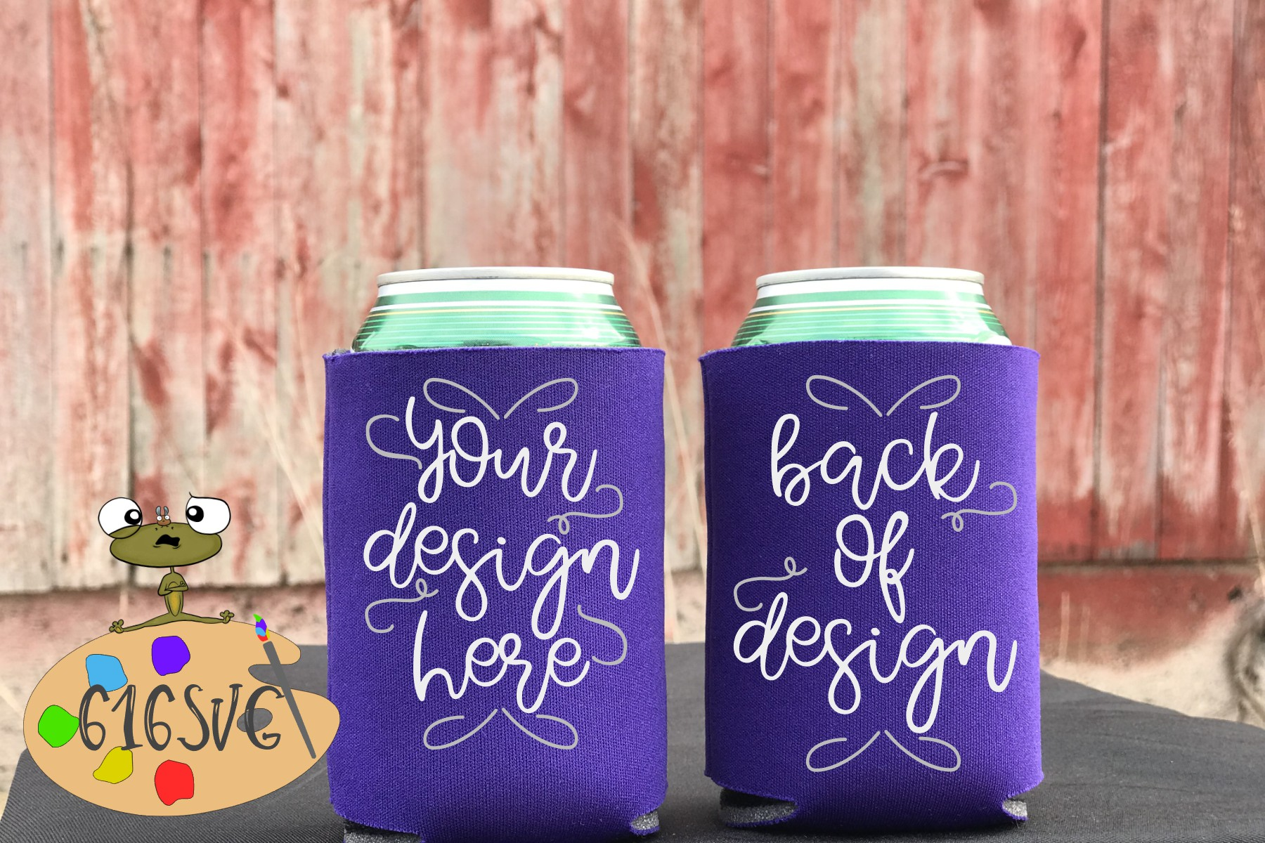 Purple Can Cooler Mockup example image 2