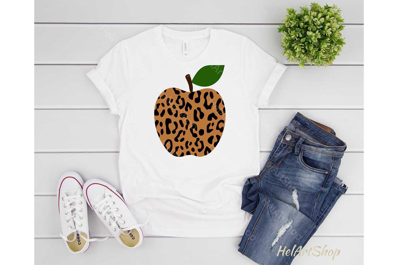 Leopard Print Apple svg, Teacher svg, Back To school svg example image 2
