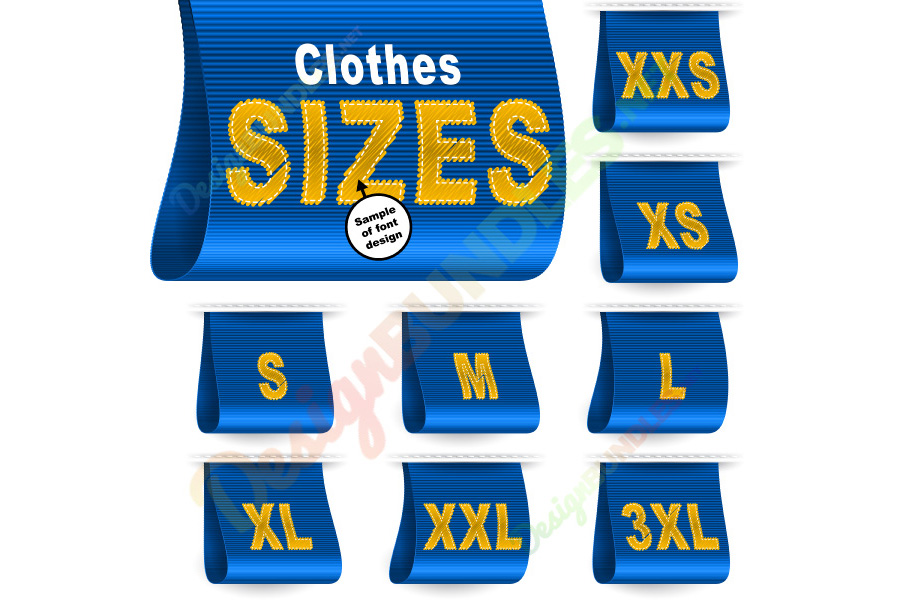 Vector Clothes Size Label Marketing Tag Sticker Sewn Set Blue example image 1