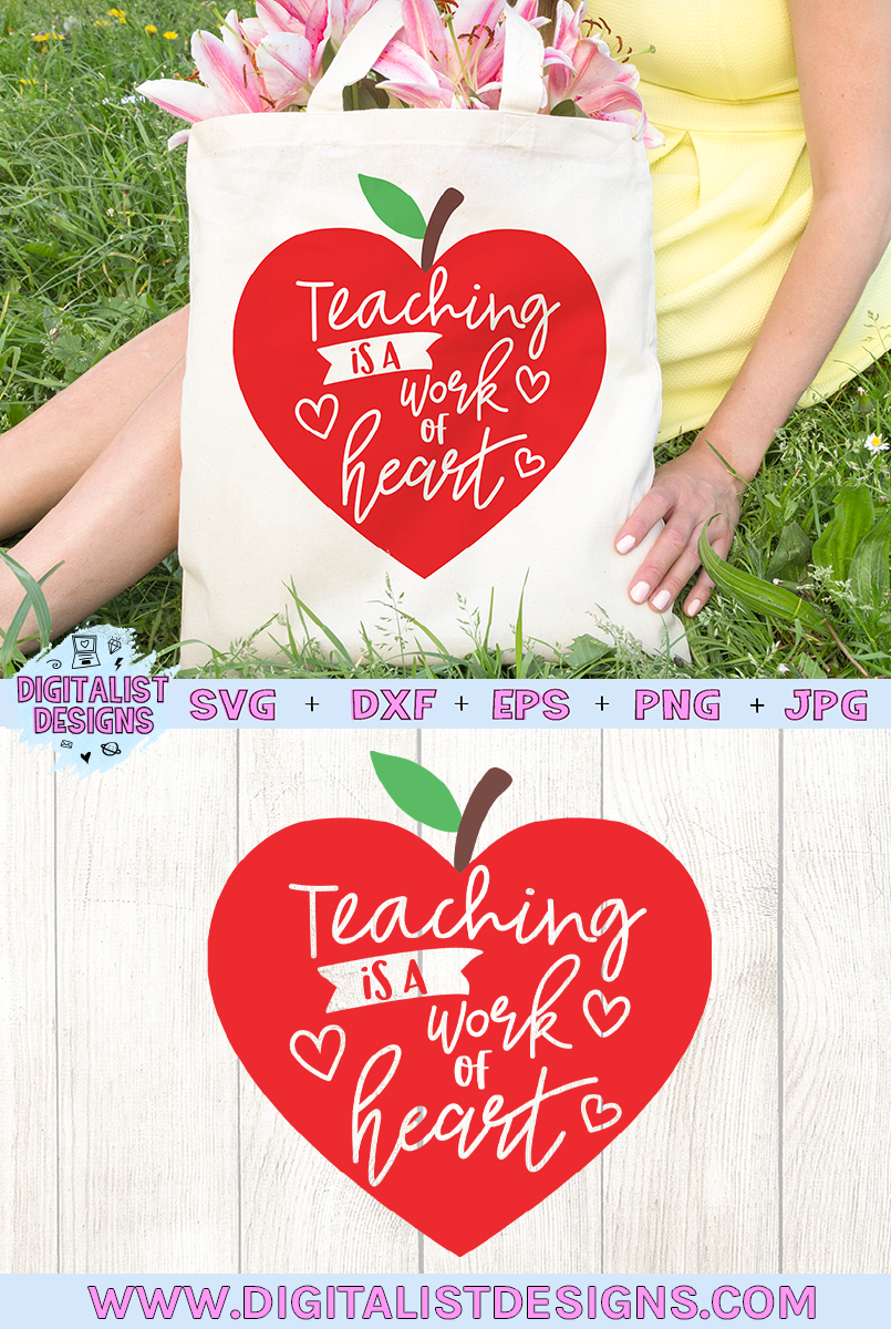 teacher svg, teaching is a work of heart, apple example image 4