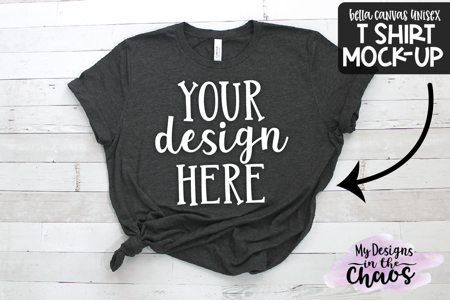 T Shirt Mock Up | Heather Black Bella Canvas Unisex Mock Up example image 1