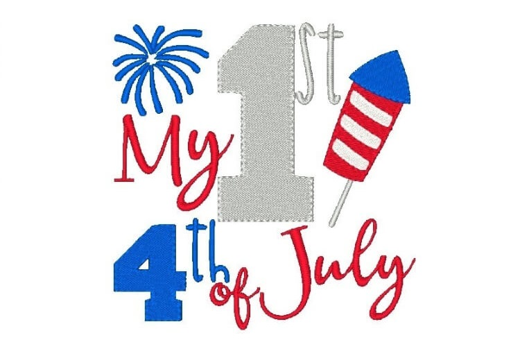 My First 4th of July Embroidery Design Baby Embroidery example image 1