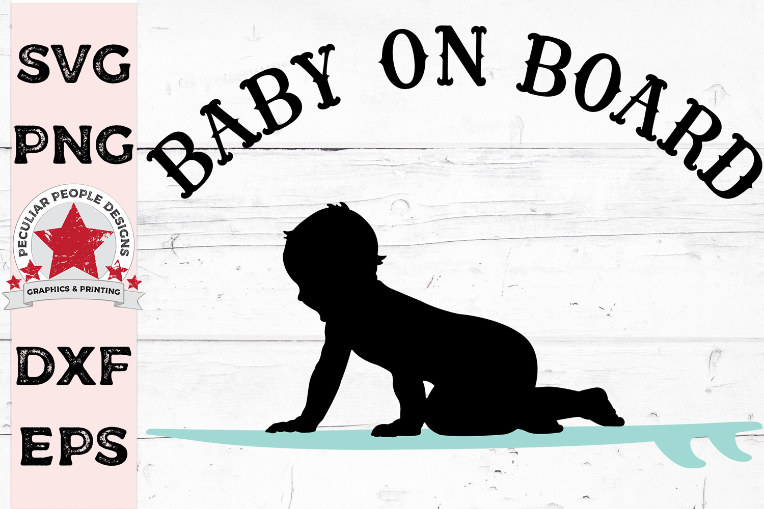 Baby On Board SVG Surfer Boy gender reveal Car Decal example image 1