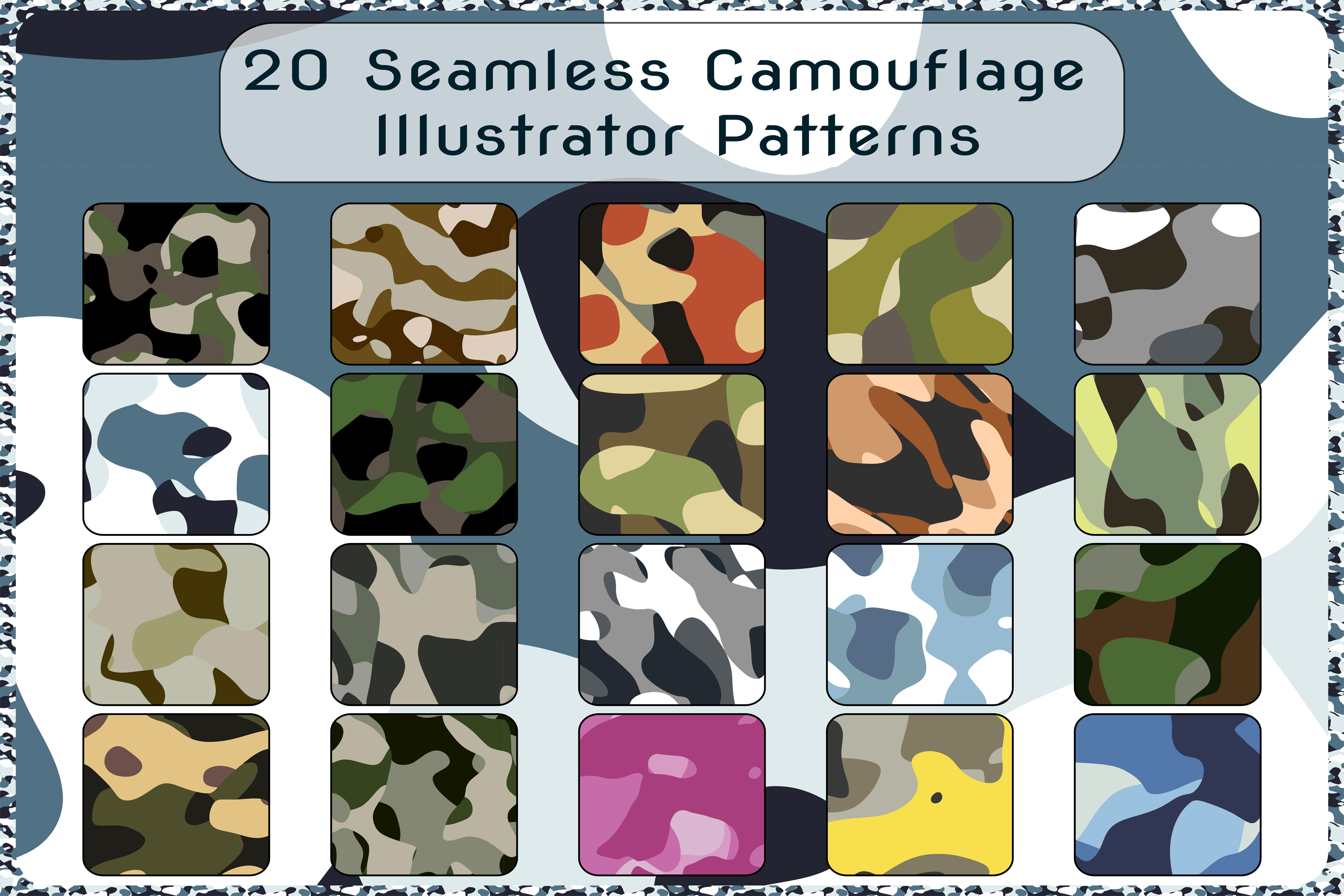 20 Camouflage Repeating Adobe Illustrator Patterns example image 1