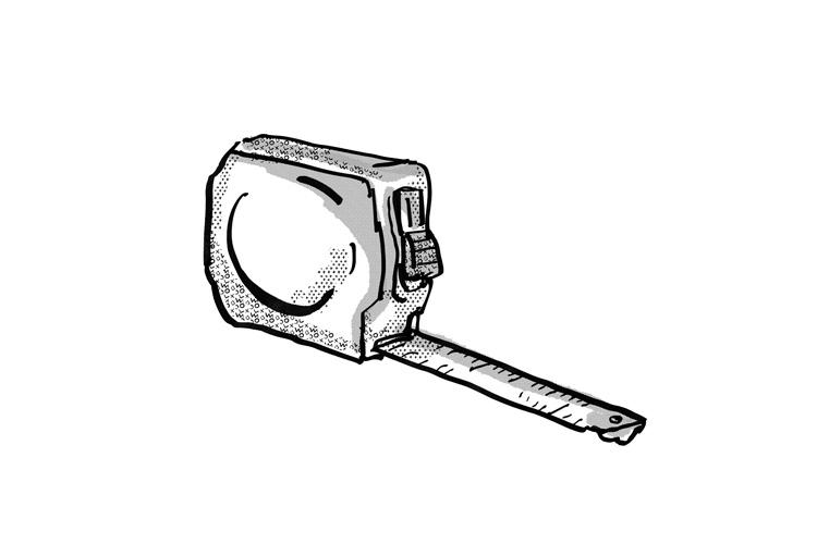 Measuring Tape Cartoon Retro Drawing example image 1