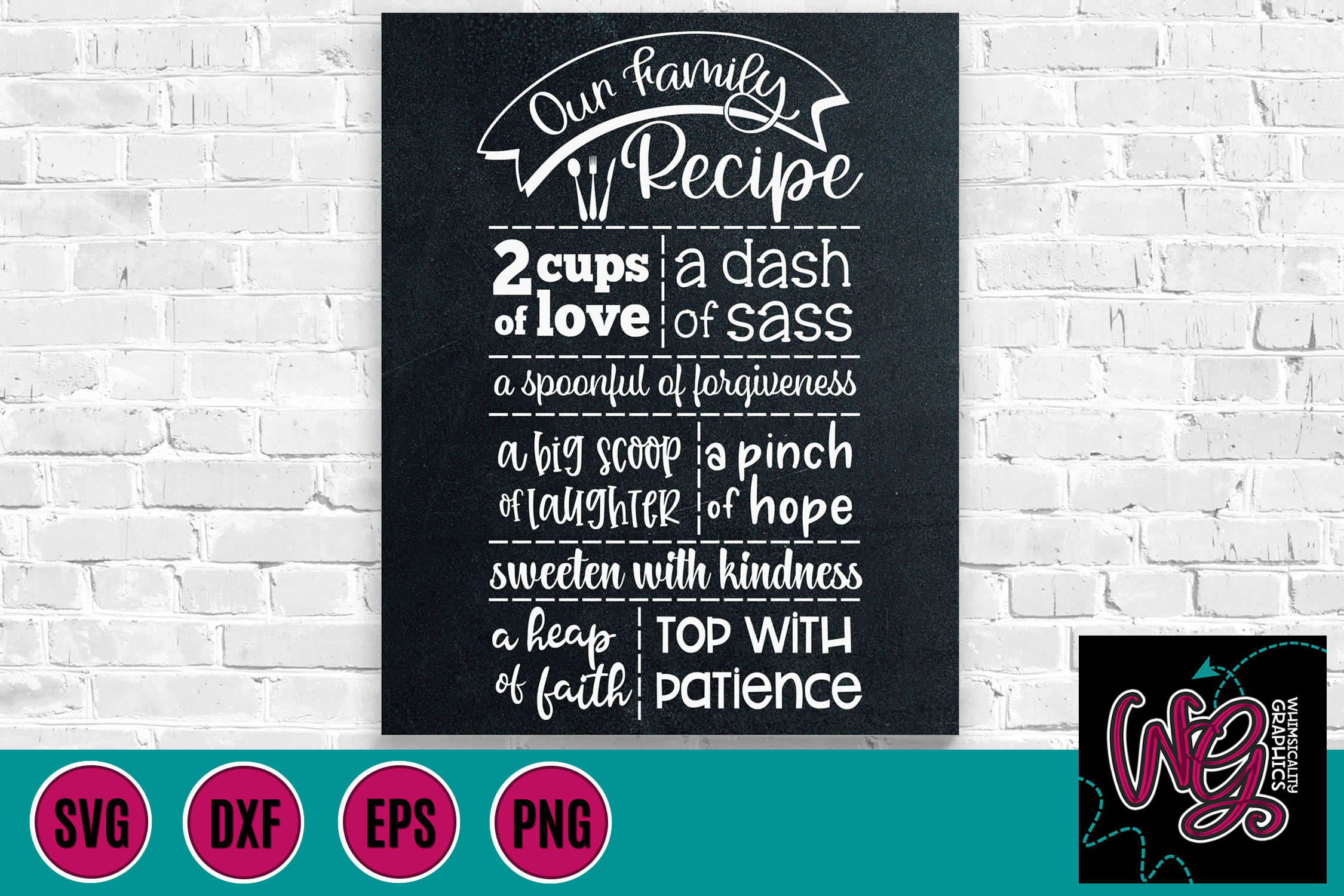 Our Family Recipe Kitchen Sign SVG DXF PNG EPS example image 1