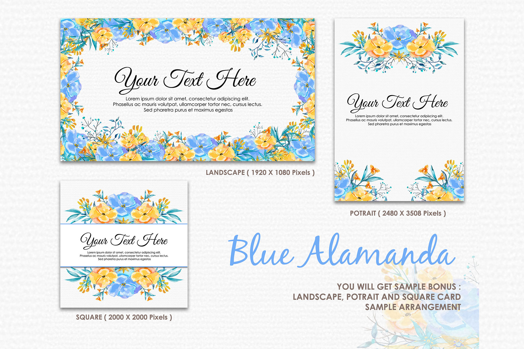 Blue Alamanda - Watercolor Floral Flower Style Clipart example image 4