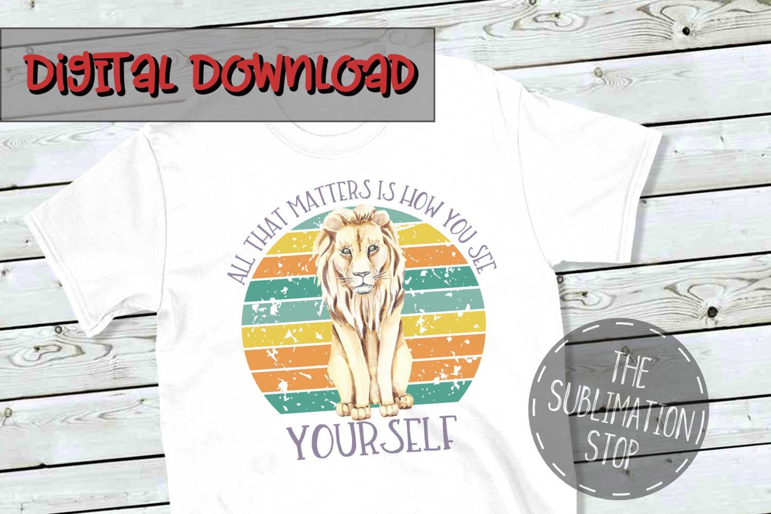 Lion Circle Design Quote - PNG File - Sublimation Design example image 1