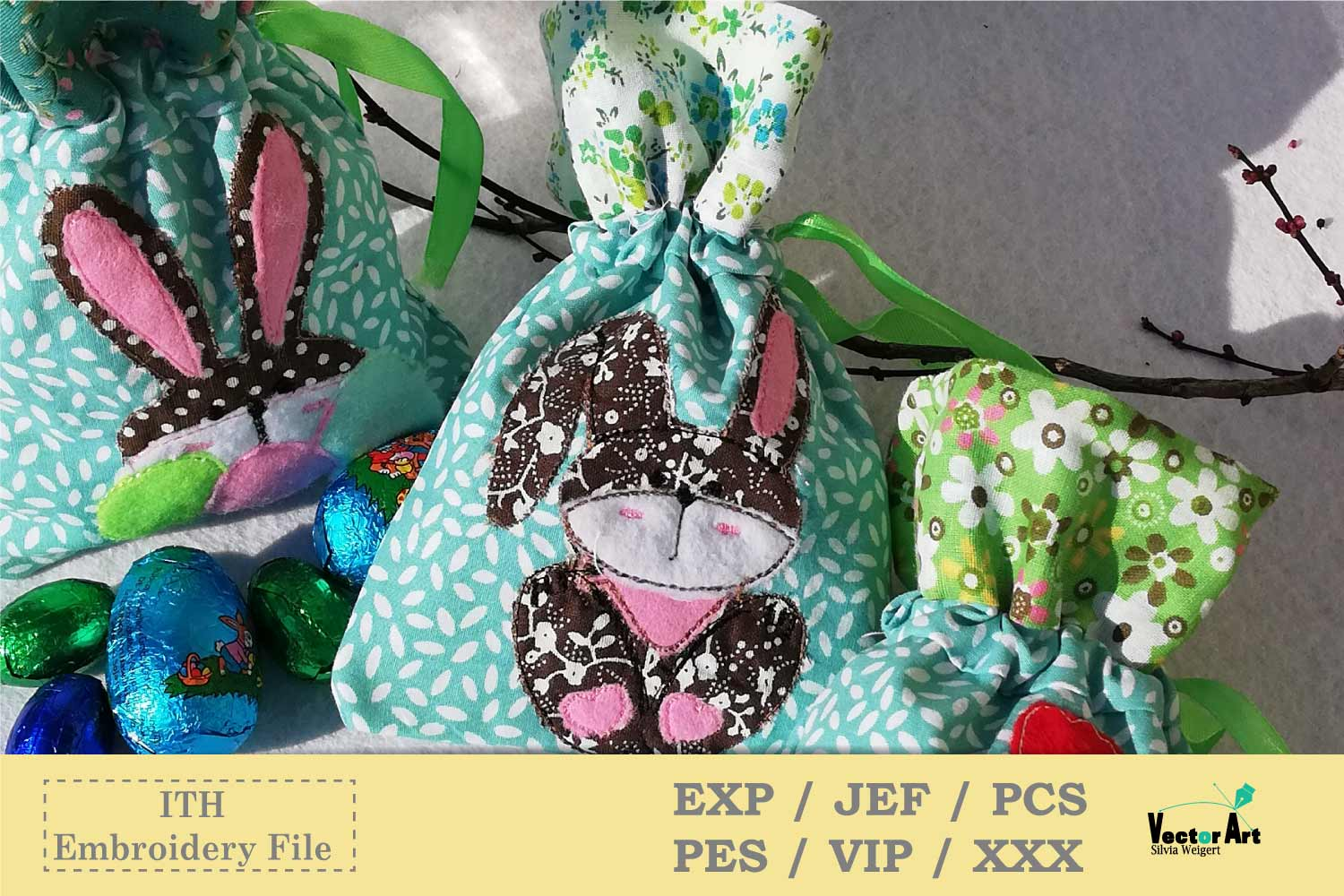 ITH -Drawstring Bag with Bunny - Embroidery File example image 3